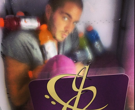 Max George of The Wanted in a fridge