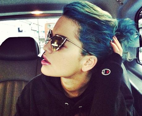 Rita Ora with blue hair