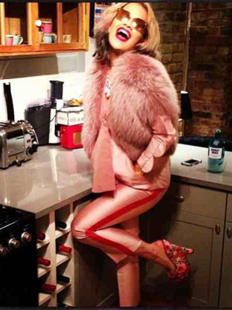 Rita Ora in the kitchen