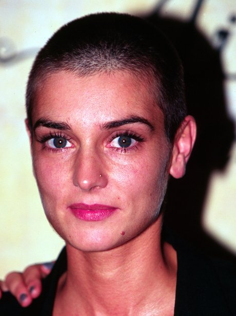 Sinead O'Connor with a shaved head