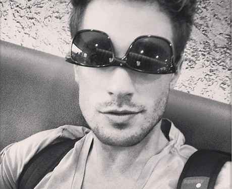 Adam Pitts wears his sunglasses the wrong way around