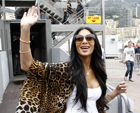Nicole Scherzinger pictured waving to fans in Monaco