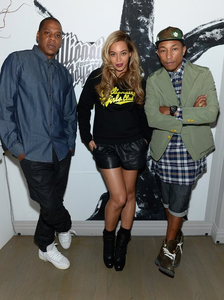 Jay-Z, Beyonce and Pharrell Williams at a New York City club