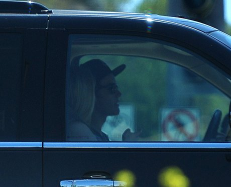 Justin Bieber with mystery blond in his car