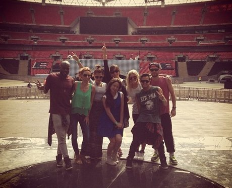 The Saturdays backstage at the Summertime Ball