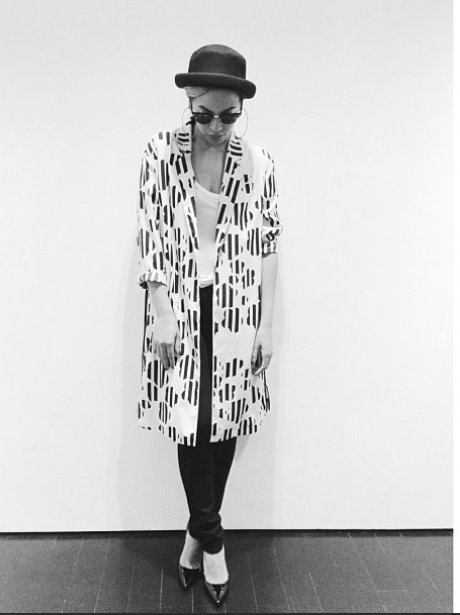 Beyonce in black and white coat