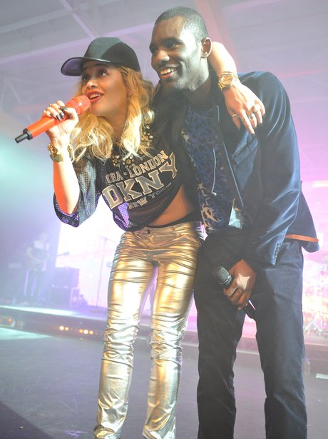Rita Ora and Wretch 32 on stage