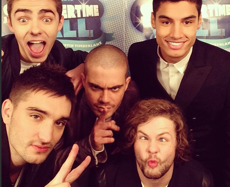 The Wanted pose in the Twitter Mirror at the Summertime Ball 2013