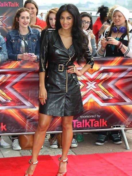 Nicole Scherzinger leather jacket dress at C Factor auditions