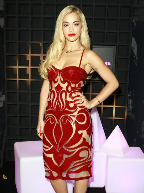 Rita Ora wearing a PVC dress