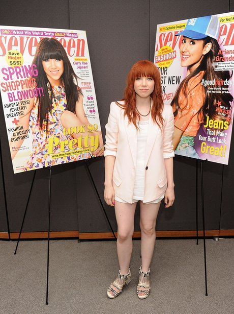 Carly Rae Jepsen with red hair at magazine launch