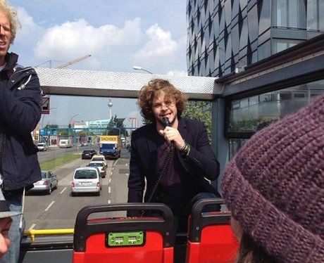 Jay McGuiness on a tour bus