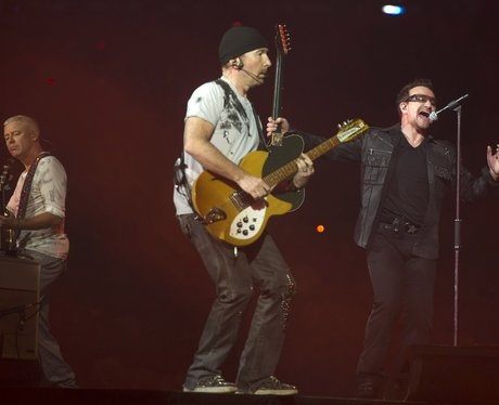 U2 perform in concert as part of their 360 Tour