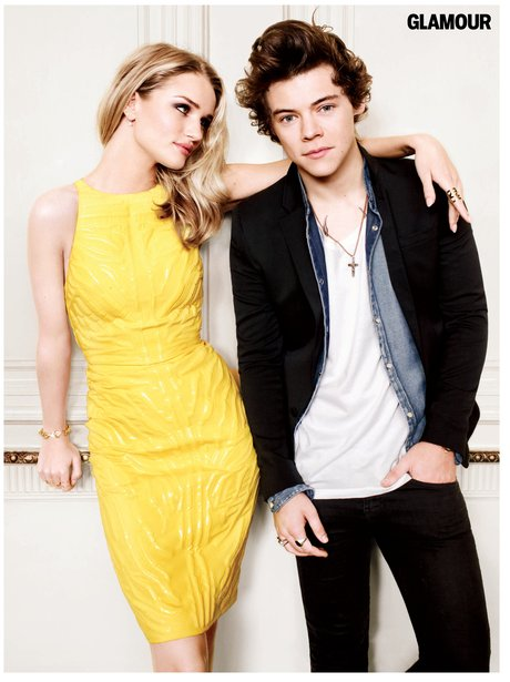 One Direction and Rosie Huntington-Whiteley Glamour