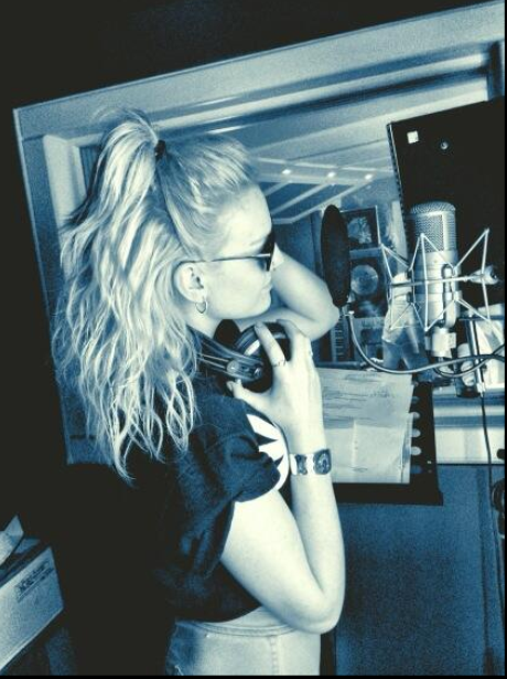 Perrie Edwards in the studio