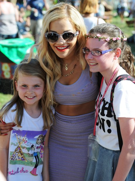 Rita Ora with fans at Glastonbury