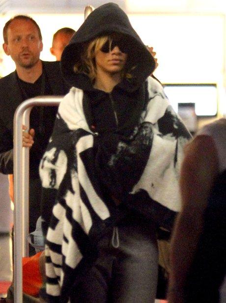 Rhianna arrives at Nice Airport