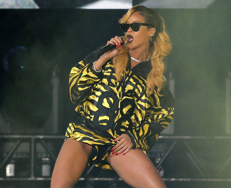 Rihanna on stage at T in the Park 2013
