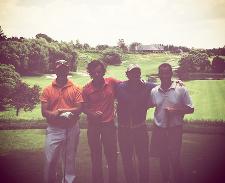 Harry Styles on a golf course