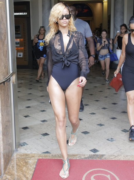 Rihanna shopping in a swimsuit