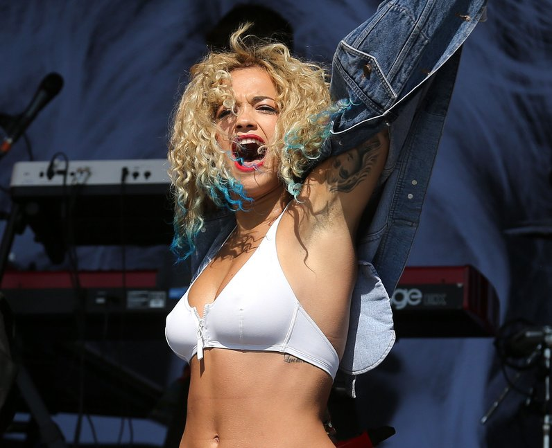 Rita Ora on stage at T in the Park 2013