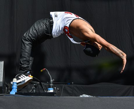 Aston doing a back flip on stage