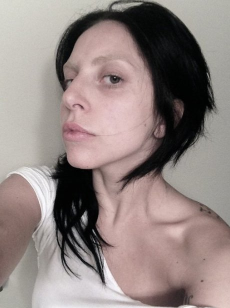 Lady Gaga with black hair