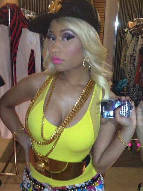Nicki Minaj poses in some designer clothes