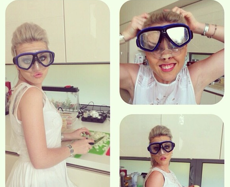 Perrie Edwards wearing some snorkelling goggles