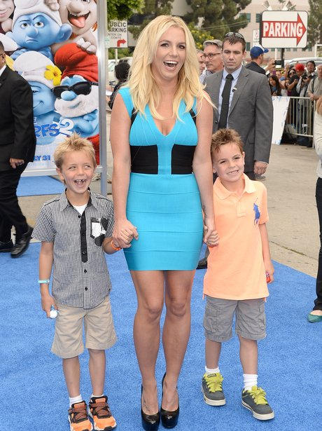 Britney Spears with her sons holding hands at the Smurfs 2 premiere