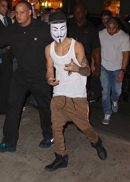 Justin Bieber Heads Out In V For Vendetta Mask And Unveils Full