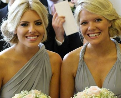 Mollie Kings and sister as bridesmaids