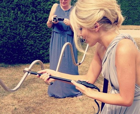 Mollie King dressed as a bridesmaid at her sister's wedding