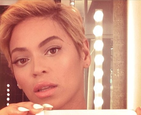 Beyonce with new short blonde hair