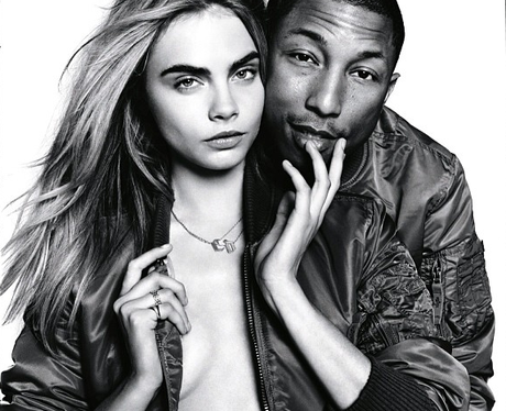 Cara Delevingne and Pharell Williams in Vogue magazine
