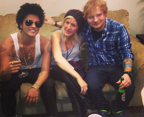 Ed Sheeran, Bruno Mars and Ellie Goulding hanging out