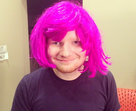 Ed Sheeran wearing a pink wig