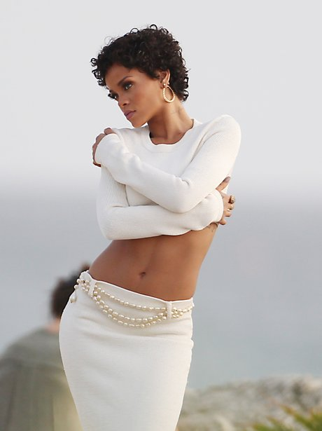Rihanna on a photoshoot in Barbados