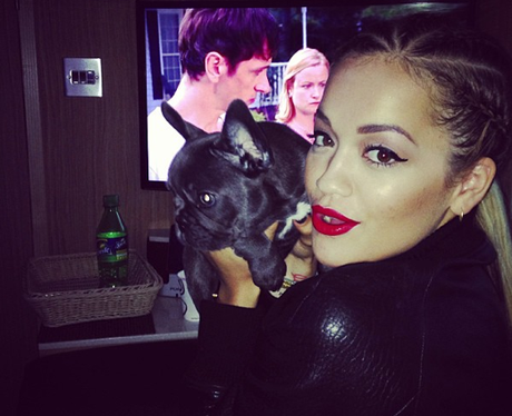 Rita Ora with her cat