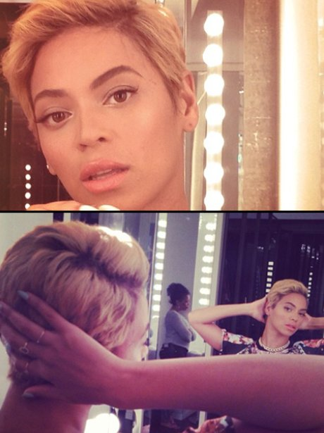 Beyonce shows off her new short hair