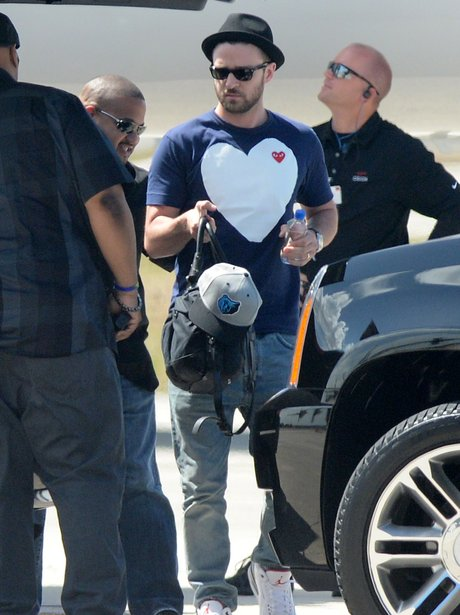 Justin Timberlake  gets of his private jet