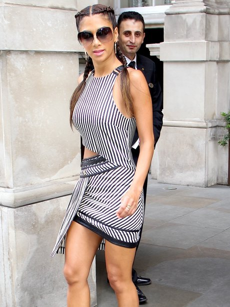 Nicole Scherzinger wearing a cut out dress