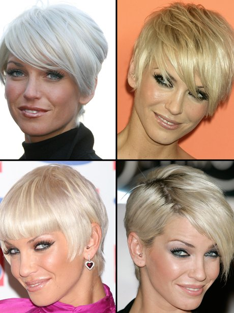 Sarah Harding with her short blonde hair