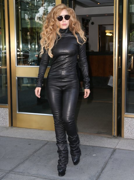 Lady Gaga wearing a black catsuit