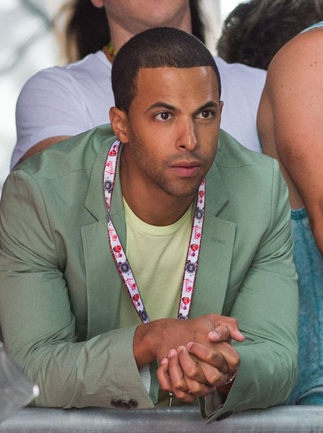Marvin Humes watching The Saturdays at V Festival 2013