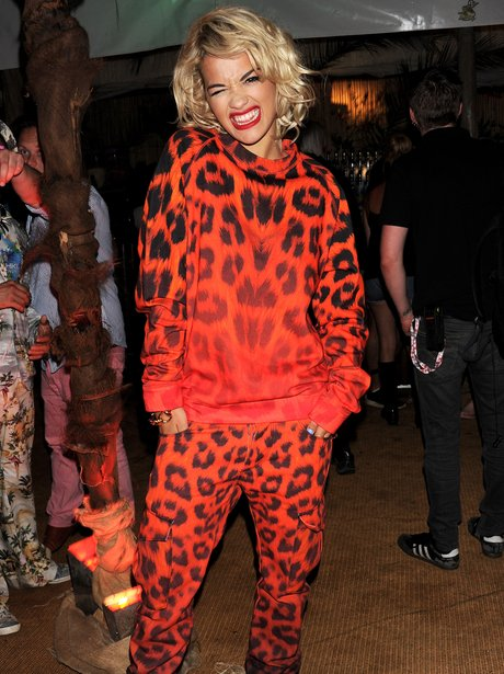 Rita Ora at V Festival 2013 wearing a red leopard print outfit