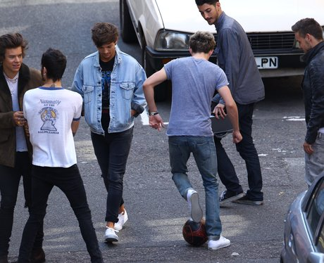 One Direction on the set of their new video