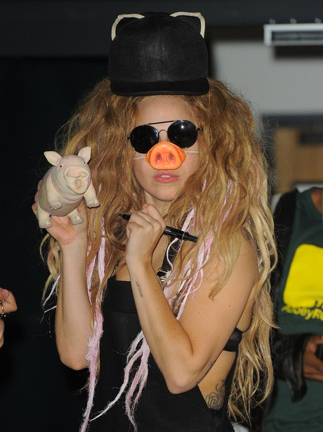 Lady Gaga wearing a snout