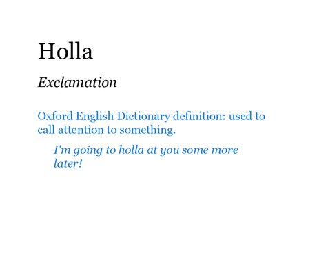Pop Dictionary: Holla