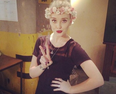 Little Mix's Perrie Edwards wearing a head band